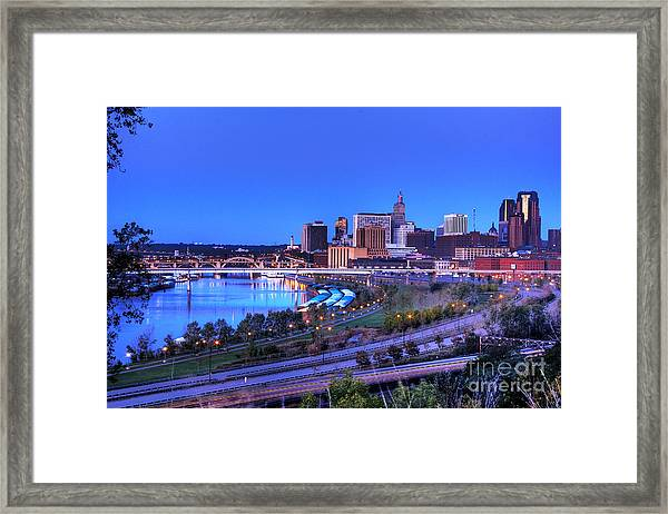 Saint Paul Minnesota Skyline Blue Morning Light Framed Print