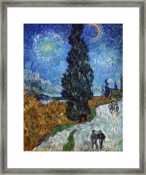 Saint-remy Road With Cypress And Star Framed Print