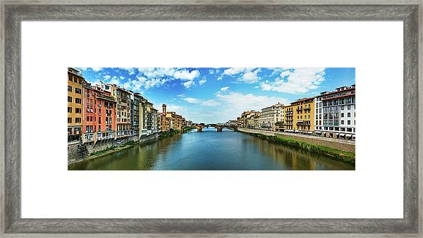 Panoramic View Of Saint Trinity Bridge From Ponte Vecchio In Florence, Italy Framed Print