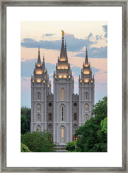 Framed Print featuring the photograph Salt Lake City Temple Morning by Dustin  LeFevre