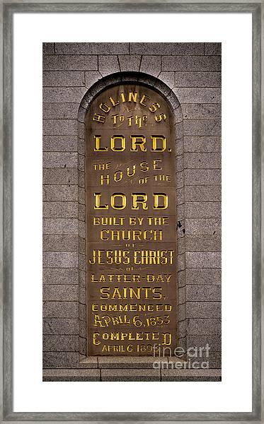 Salt Lake Lds Temple Dedication Plaque Close-up Framed Print
