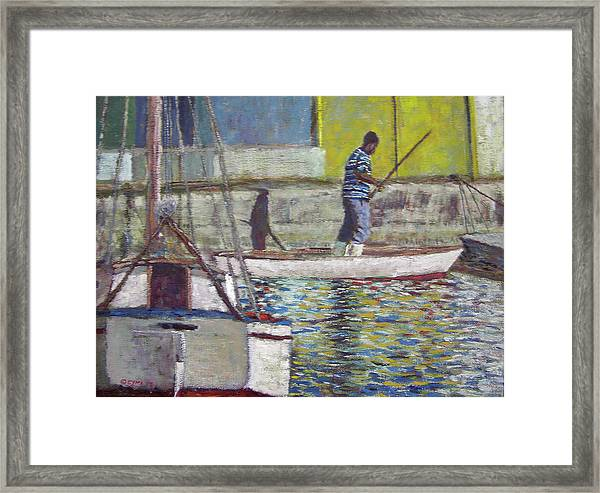 Sam And His Shadow Framed Print