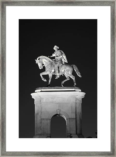 Sam Houston - Black And White Framed Print