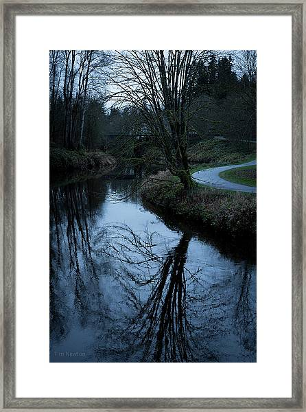 Sammamish River At Dusk Framed Print