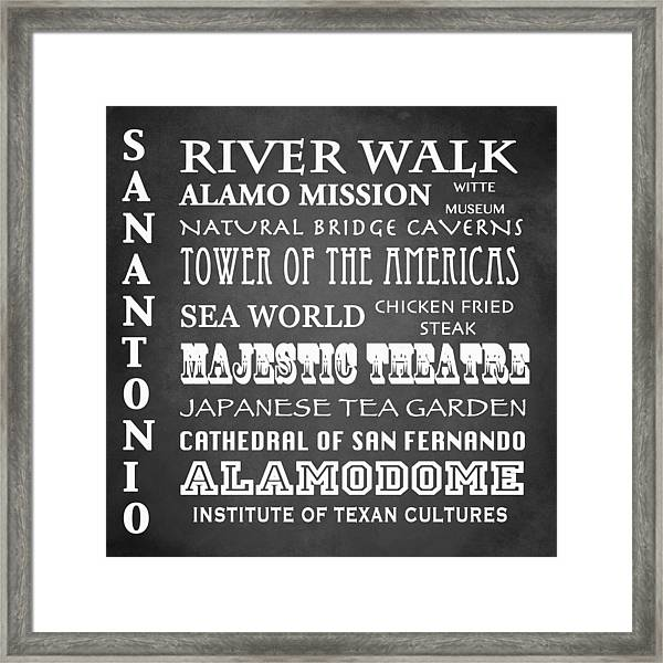 San Antonio Famous Landmarks Framed Print
