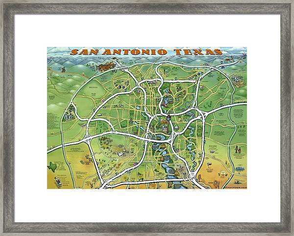 San Antonio Texas Cartoon Map Framed Print