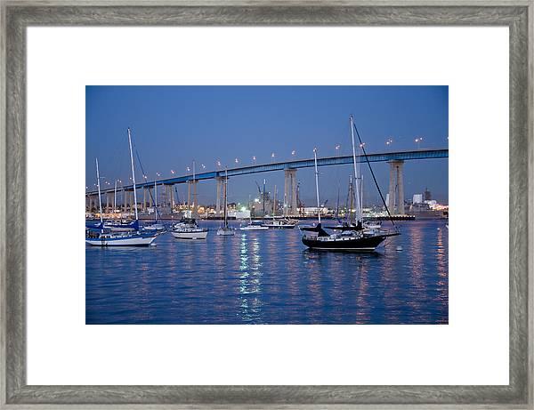 San Diego Bay At Nightfall Framed Print