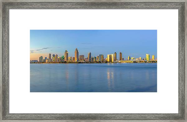 San Diego Skyline At Dusk Framed Print