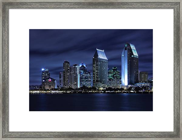 San Diego Skyline At Night Framed Print