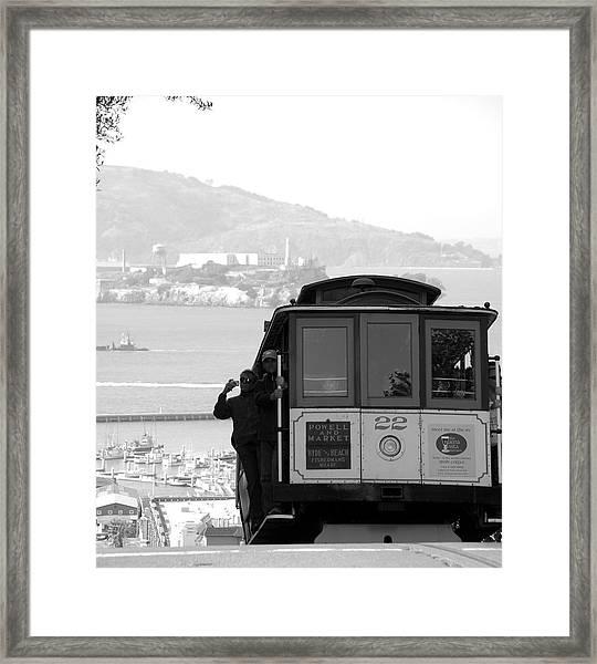 San Francisco Cable Car With Alcatraz Framed Print
