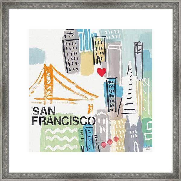 San Francisco Cityscape- Art By Linda Woods Framed Print