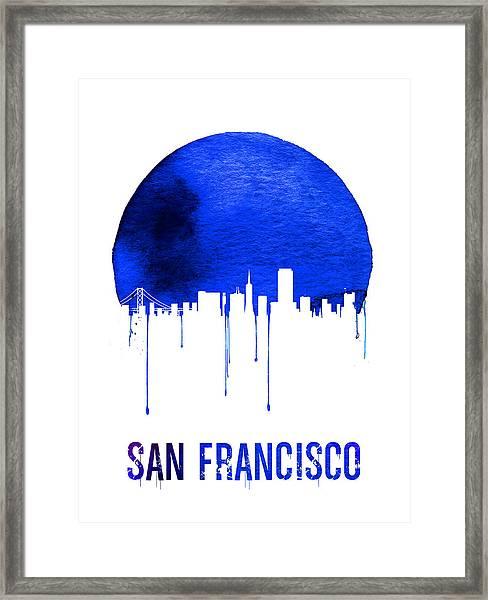 San Francisco Skyline Blue Framed Print