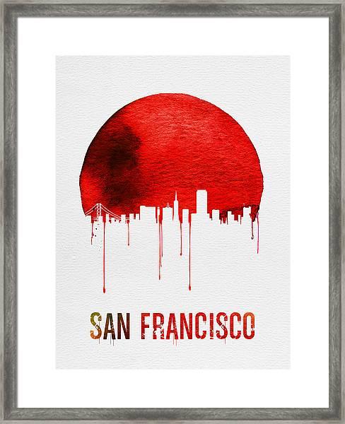 San Francisco Skyline Red Framed Print