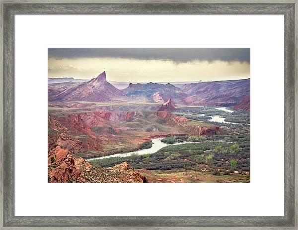 San Juan River And Mule's Ear Framed Print