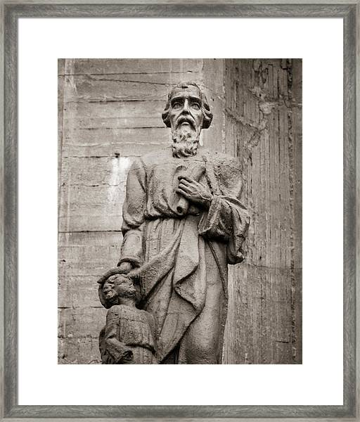San Mateo Statue At The Manizales Cathedral Framed Print by Adam Rainoff