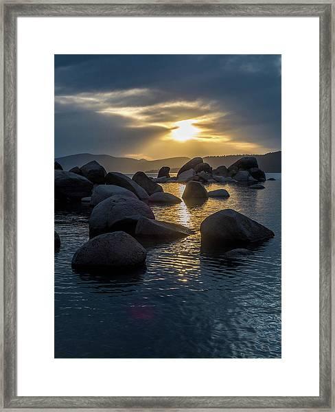 Sand Harbor Light Framed Print