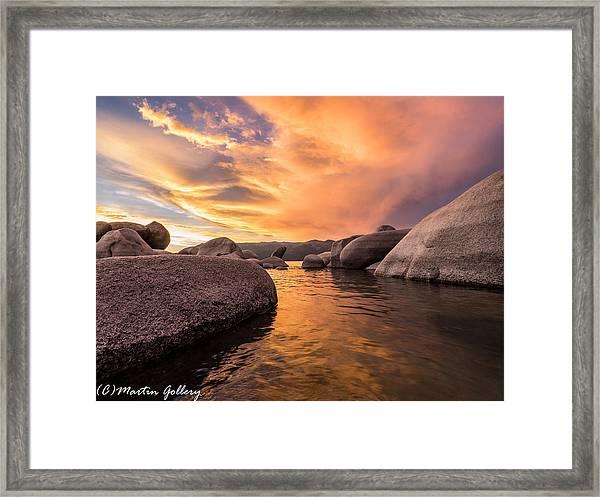 Sand Harbor Rocks Framed Print