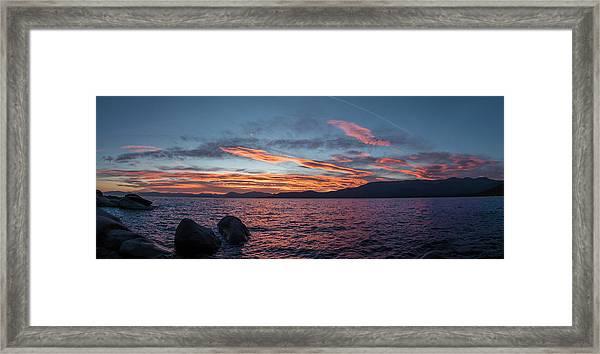 Sand Harbor Sunset Pano2 Framed Print