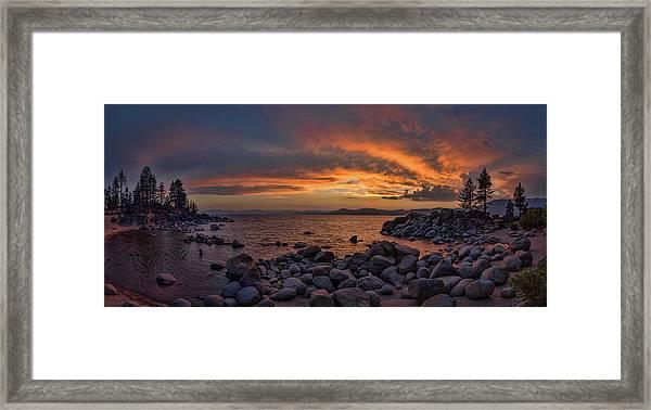 Sand Harbor Sunset Panorama Framed Print