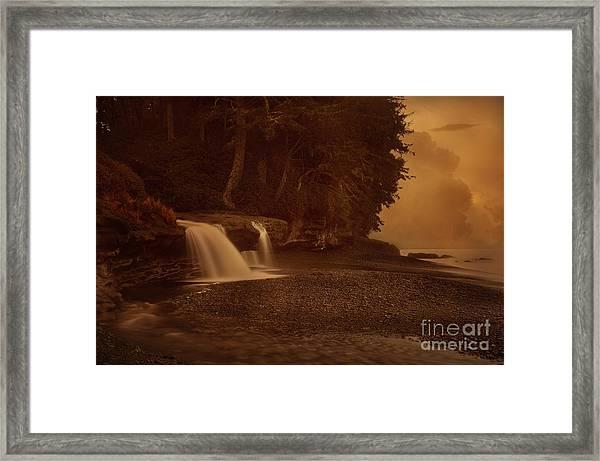 Sandcut Beach Waterfalls  Framed Print