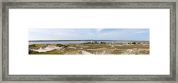 Sandy Neck Lighthouse With Fishing Boat Framed Print