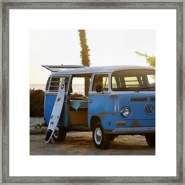 Vw And Surfboard Framed Print
