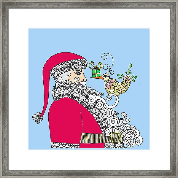 Santa And Bird On Blue Framed Print