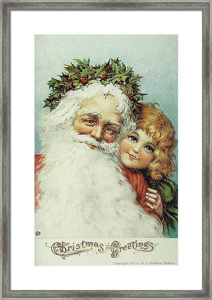 Santa And His Little Admirer Framed Print