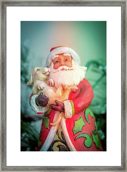 Santa And Lab Pup Framed Print
