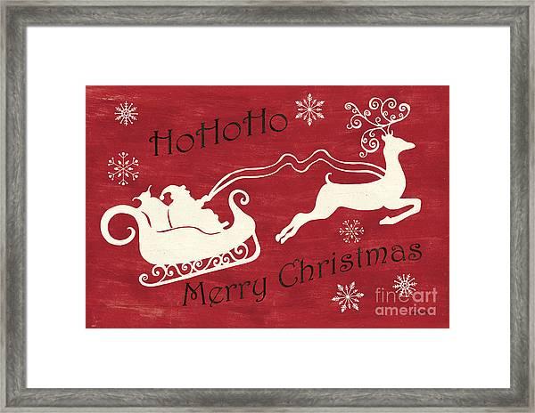 Santa And Reindeer Sleigh Framed Print