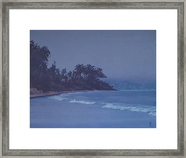 Santa Barbara Beach At Twilight Framed Print by Philip Fleischer