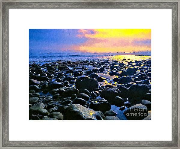 Santa Barbara Beach Sunset California Framed Print