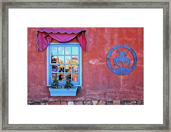 Santa Fe Street Reflection Framed Print