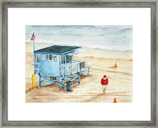 Santa Is On The Beach Framed Print