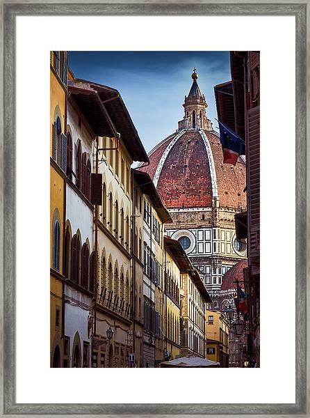 Santa Maria Del Fiore From Via Dei Servi Street In Florence, Italy Framed Print