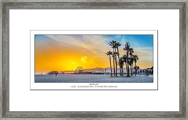 Santa Monica Sunset Poster Print Framed Print