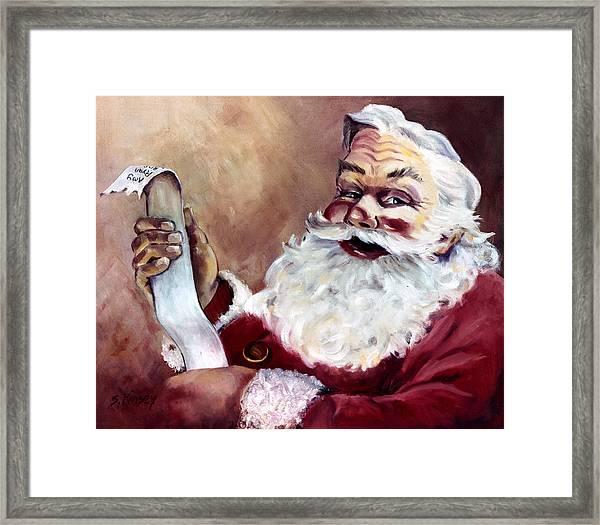 Santa With A List Framed Print