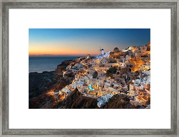 Santorini Skyline Night Framed Print by Songquan Deng