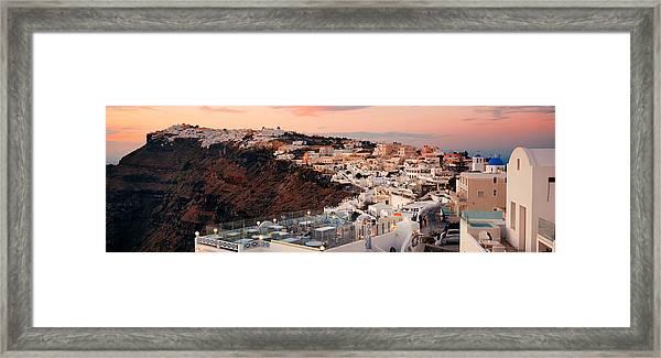 Santorini Skyline Sunset Framed Print by Songquan Deng