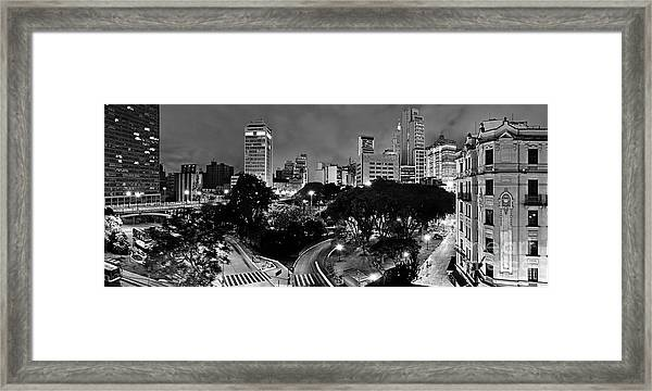 Sao Paulo Downtown At Night In Black And White - Correio Square Framed Print