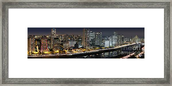 Sao Paulo Iconic Skyline - Cable-stayed Bridge  Framed Print