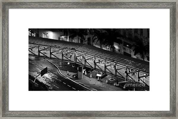 Sao Paulo - Metallic Footbridge At Night Framed Print