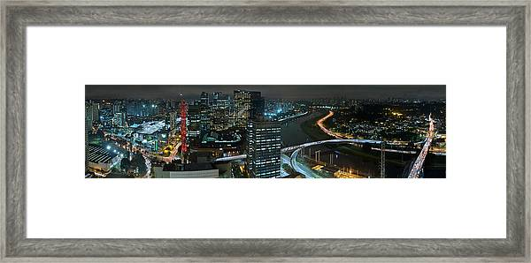 Sao Paulo Skyline Modern Corporate Districts Brooklin Morumbi Chacara Santo Antonio Framed Print