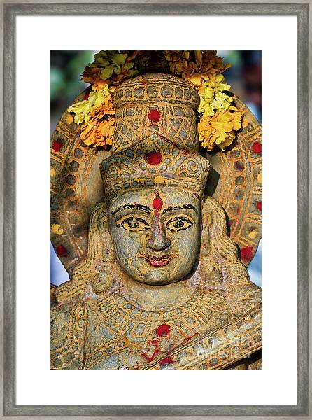 Saraswathi Statue In Morning Light Framed Print by Tim Gainey