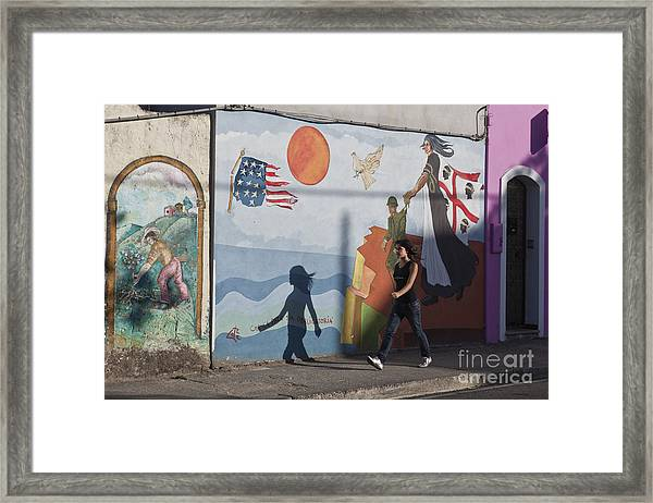 Framed Print featuring the photograph Sardinia Wall Painting  by Juergen Held