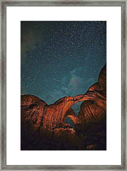 Satellites Crossing In The Night Framed Print