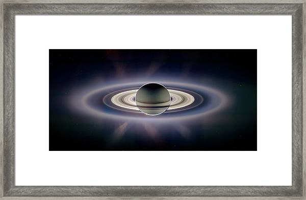 Saturn Silhouetted, Cassini Image Framed Print