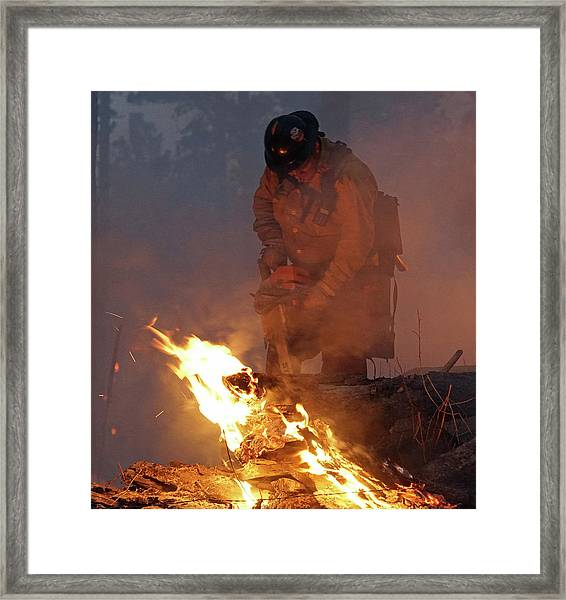 Sawyer, North Pole Fire Framed Print