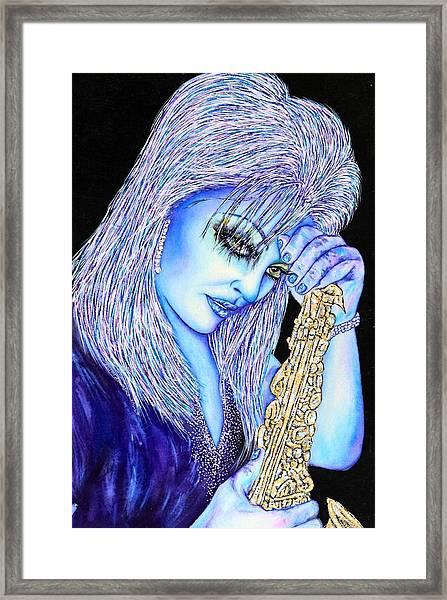Sax Blue Framed Print by Joseph Lawrence Vasile
