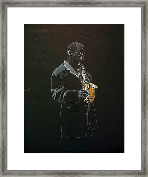 Sax Player Framed Print